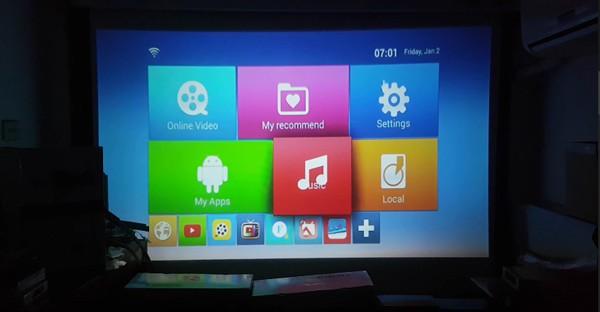 Máy chiếu tích hợp android tv box
